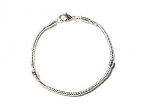 Metalen Groot-Gat-Style Armband +/- 17cm Zilverkleur