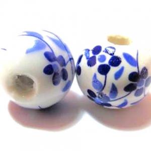 Keramiek Kralen 12mm Rond met Bloemen Blauw