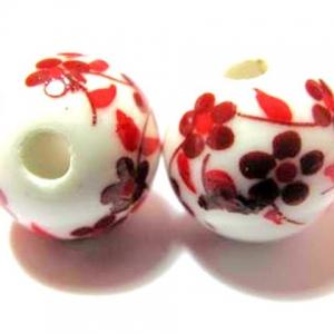 Keramiek Kralen 12mm Rond met Bloemen Rood