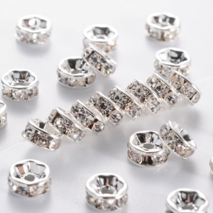 Strass Rondellen 6mm Crystal in Zilverkleur verguld (1 stuk)