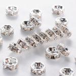 Strass Rondellen 7mm Crystal in Zilverkleur verguld (1 stuk)