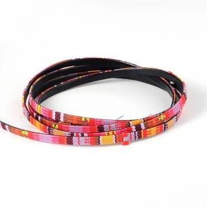 Aztek Koord Plat 5x2mm Multicolor Roze (1 meter)