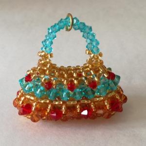 Pakketten Mini Glamour Bag Turquoise / Rood / Goud